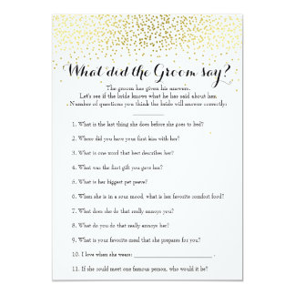 Double Side Gold Confetti Bridal Shower Games Card