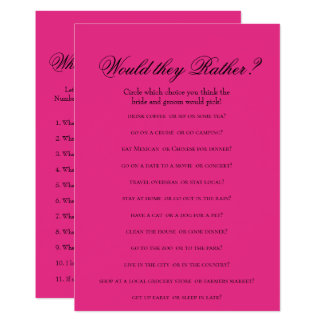Double Side Hot Pink Bridal Shower Games Card