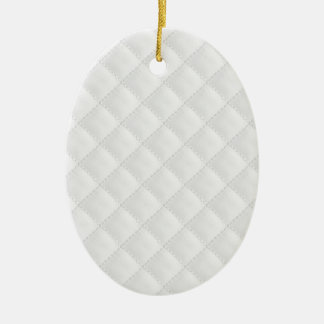 Double Side White Quilted Leather Ceramic Oval Decoration