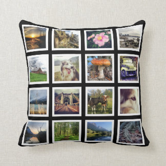 Double Sided 32 Instagram Photos Custom Pictures Throw Pillow