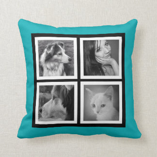 Double Sided 7 Photos with Monogram Initials Cushion