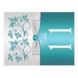 Double-sided Aqua and silver Floral Table Number Postcards