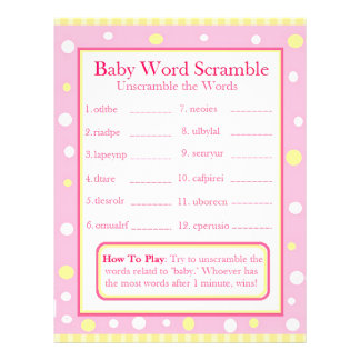 Double Sided Baby Shower Games 21.5 Cm X 28 Cm Flyer