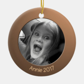 Double Sided Brass 2 x Custom Photo and Text Christmas Ornament