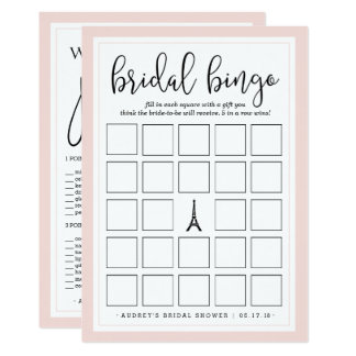 Double-Sided Bridal Shower Bingo and Purse Game 13 Cm X 18 Cm Invitation Card