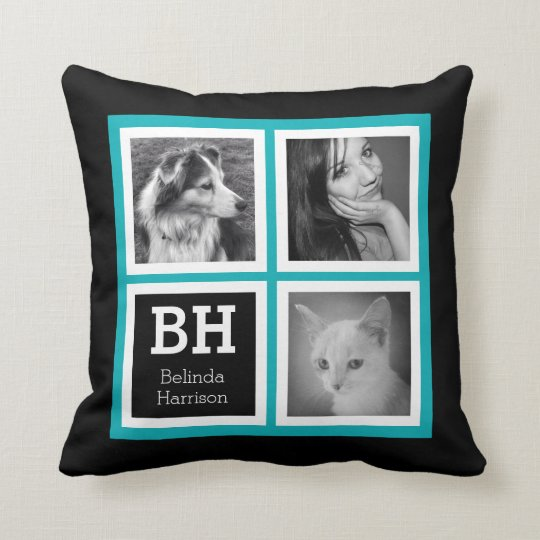 Double Sided Bright Blue Black Instagram Photos Throw