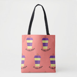 Double-sided coffee-themed tote bag