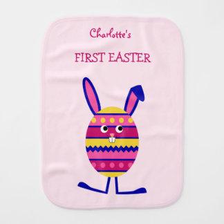 Double-sided custom name pink Easter egg bunny Burp Cloth