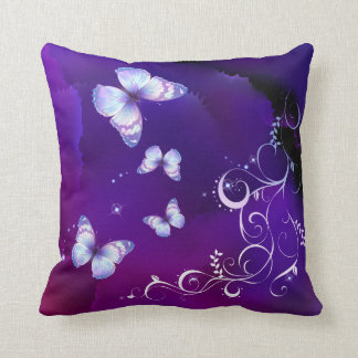 Double Sided Deep Purple Watercolor Butterfly  Ame Cushion