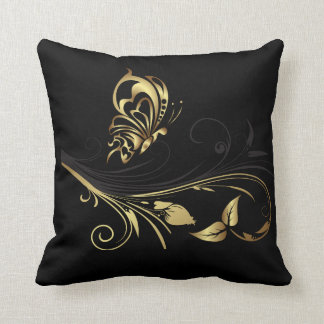 Double Sided Gold Butterfly American MoJo Pillow