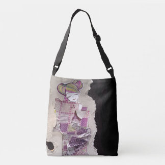double sided gothic lolita altered art collage bag