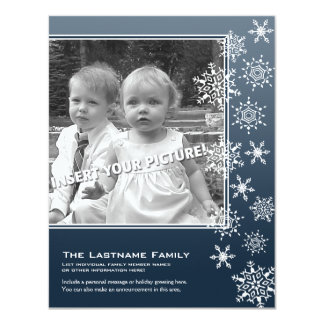 Double-sided Holiday Photo Cards Blue Snowflakes 11 Cm X 14 Cm Invitation Card
