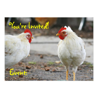 Double Sided Invitation Rooster