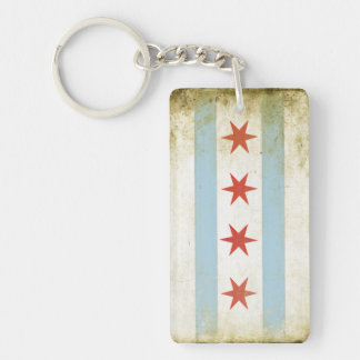 Double Sided Keychain with Cool Chicago Flag Print