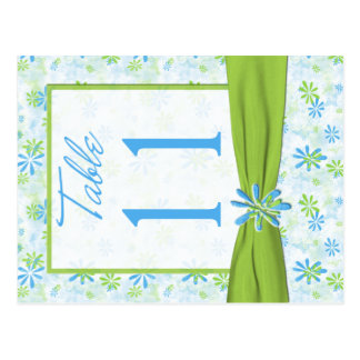Double-sided Lime Blue White Table Number Post Card