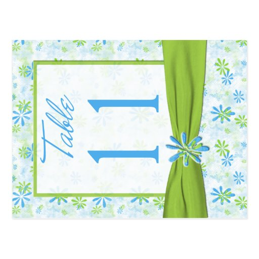 Double-sided Lime, Blue, White Table Number Post Card