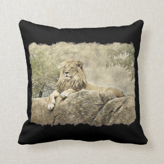 Double Sided Lion Wildlife Photo Throw Pillow