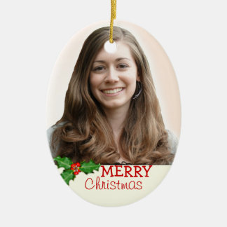 Double-Sided Oval Christmas Photo Ornament
