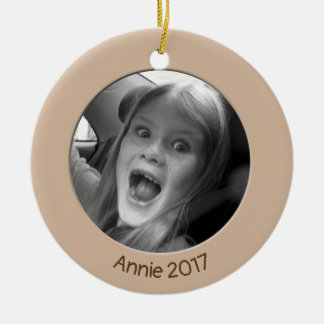Double Sided Peach 2 x Custom Photo and Text Christmas Ornament