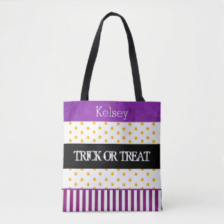 Double Sided Personalized Halloween Trick or Treat Tote Bag