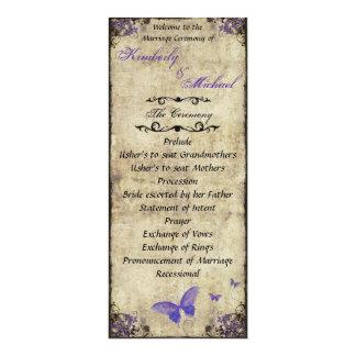 Double Sided Purple Butterfly Wedding Program 10 Cm X 24 Cm Invitation Card