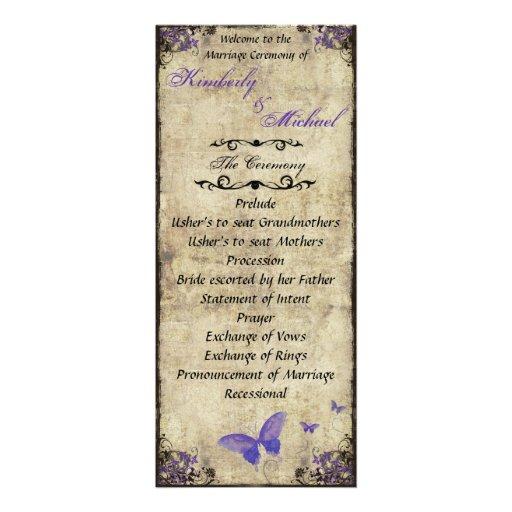 Double Sided Purple Butterfly Wedding Program Invite