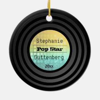 Double Sided Retro Vinyl Gold Disco Light Keepsake Christmas Ornament