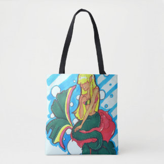 Double sided shy mermaid tote bag