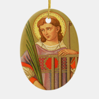 Double-Sided St. Lawrence of Rome (PM 04a) Ceramic Oval Decoration