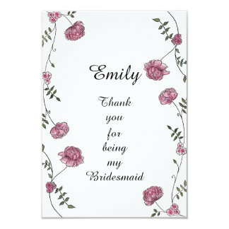 Double sided Thank you card for Bridesmaid 9 Cm X 13 Cm Invitation Card