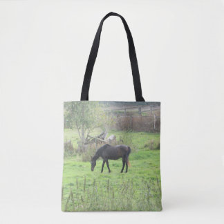 Double Sided Tote Bag with Pretty Horses