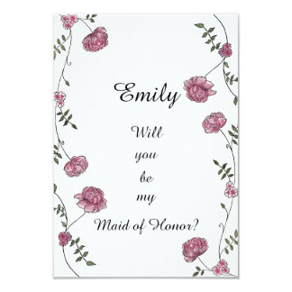 Double sided Will you be my Maid of Honor card 9 Cm X 13 Cm Invitation Card