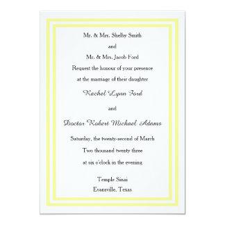 Double Soft Yellow Trim -5x7Wedding Invitation