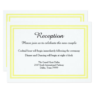 Double Soft Yellow Trim-Reception Invition Card