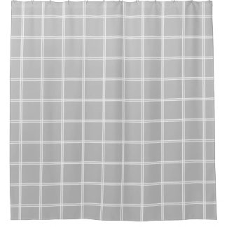 Double Stripe White Plaid on Ash Grey Shower Curtain