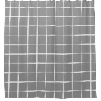 Double Stripe White Plaid on Dove Grey Shower Curtain