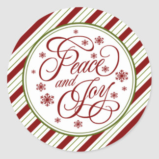 Double Stripped Peace and Joy Seals Round Sticker