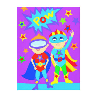 Double Super Hero Kids Stretched Canvas Print