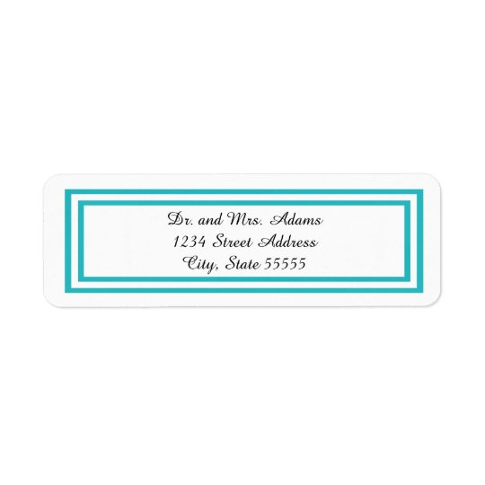 Double Teal Trim - Address Label