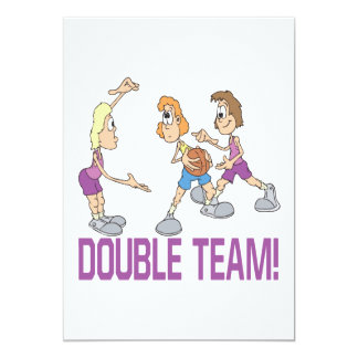 Double Team 13 Cm X 18 Cm Invitation Card