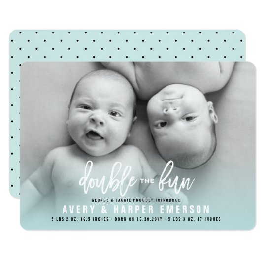 Double The Fun Baby Boy Twins Birth Announcement