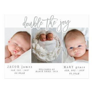 Double the joy-grey postcard