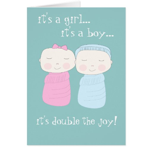 Double the Joy! Twin Girl & Boy Notecard Greeting Cards