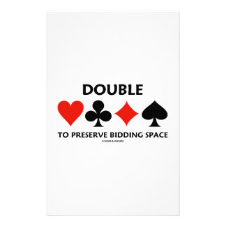 Double To Preserve Bidding Space Card Suits Stationery Design