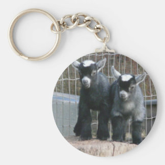 Double Trouble Basic Round Button Key Ring