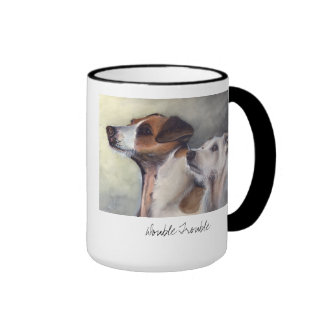 Double Trouble Painted in Watercolour Ringer Mug