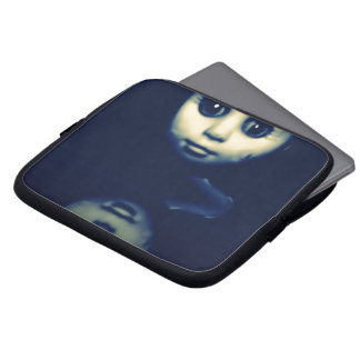 double trouble scary doll laptop sleeve
