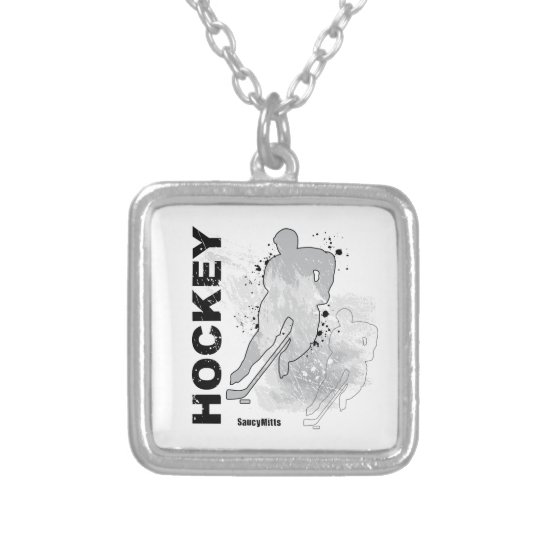Double Vision Hockey (male) Silver Plated Necklace