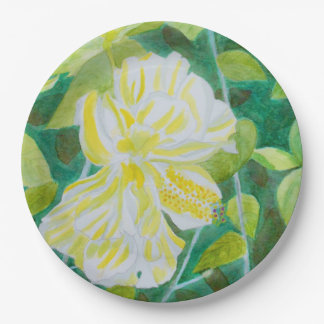 Double white hibiscus flower watercolor 9 inch paper plate