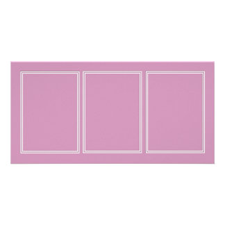 Double White Shadowed Border on Princess Pink Personalized Photo Card